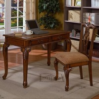 A.M.B. Furniture & Design :: Office Furniture :: Desks :: 2 pc Writing desk and chair set in a cherry brown finish wood