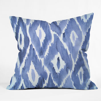 Natalie Baca Painterly Ikat in Indigo Throw Pillow