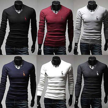 Men Fashion V Neck Long Sleeve Tee SOS