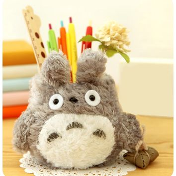 UQueen South Korean Creative Stationery Lovely Cute Cartoon Totoro High-capacity Brush Pot Plush Desktop Pen Pencil Holder Barrel Organizer