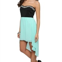 Strapless Dress with Sweetheart Stone Neckline and High Low Skirt