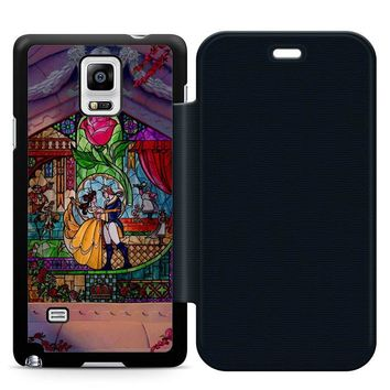 Beauty and The Beast Art Leather Wallet Flip Case Samsung Galaxy Note 4