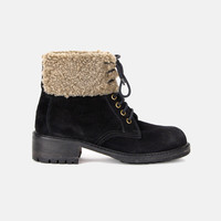 Country Girl Shearling Cuffed Hiker Ankle Boots