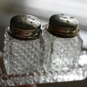 VINTAGE  Miniature Crystal Salt And Pepper Shakers and Crystal Tray, Diamond Cut Crystal Pattern.