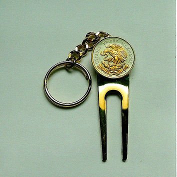 Golf ball marker, Divot, Key chain - Gorgeous 2-Toned Gold on Silver Mexican eagle coin