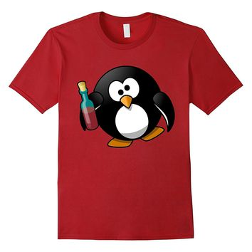 Drunk Penguin Cartoon T-Shirt - Funny Animal Shirt
