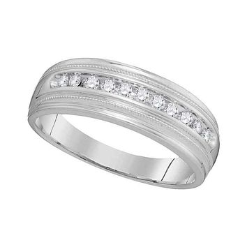 10kt White Gold Men's Round Diamond Single Row Milgrain Wedding Band Ring 1/4 Cttw - FREE Shipping (US/CAN)