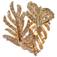 Jona Diamond Gold Wrap Around Feather Band Ring