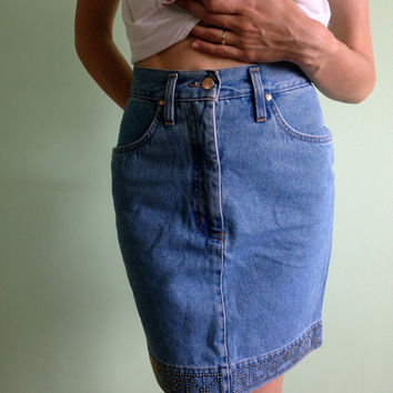 Denim Skirt, High Waisted Skirt, Size Small, 80s Pencil Skirt, Stone Washed Light Blue Jean Skirt, Acid Wash Denim, Bleached Denim Skirt,