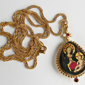 Madonna and Child Pendant Necklace Mary and Baby Jesus Medieval Icon Style