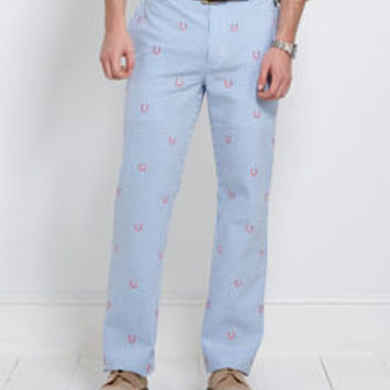 Men's Pants: Horseshoe Gingham Breakers Pants for Kentucky Derby -Vineyard Vines