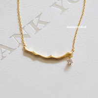 Tree Branch Bar Charm Necklace, Hipster Charm Necklace, Necklaces, Gold Plated Necklace, Bar Necklace, Tiny Bar, Dog Tag, Minimal Jewelry