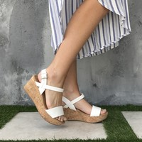 Arial Open Toe Cork Wedges in White