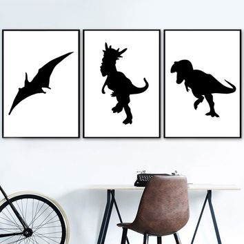 Black White Dinosaur Nordic Posters And Prints Wall Art Canvas Painting Pop Art Print Animals Wall Pictures For Kids Room Decor