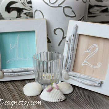 Rustic Beach Wedding Table Number Frame Whitewashed With Driftwood and Sea Shells , Home Decor Picture Frame