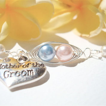 Mother of the Groom - Personalized Bracelet - 2 peas in a pod with heart charm - wedding jewelry - Mom Jewelry