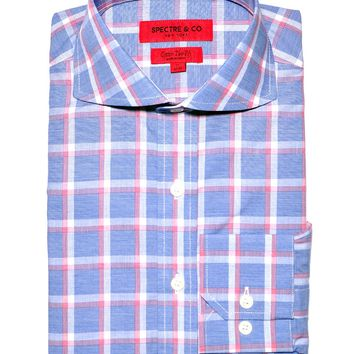 Blue Check Plaid Cutaway Dress Shirt
