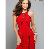 Preorder - Faviana 7661 Red Sequin Embellished Short Jersey Dress 2015 Homecoming Dresses
