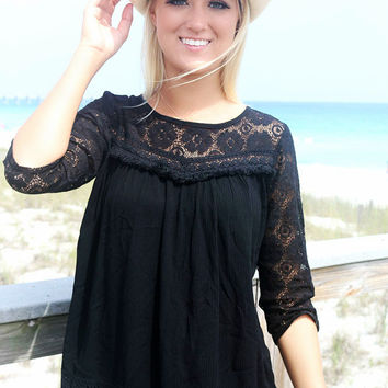 Long Bay Lace Quarter Sleeve Open Back Black Peasant Top