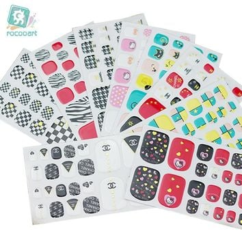 Rocooart Y5542 Fashion sexy beauty Stick Toe Nail Art Stickers Pink Cute Hello Kitty Dots Manicure Adhesive Decal Nail Wraps