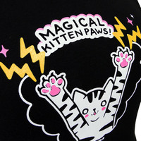 Cat TShirt MAGICAL Kitten Paws Ladies Shirt Plus by emandsprout