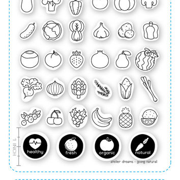 Going Natural - Planner Stamps (Photopolymer Clear Stamps) organic stamps, vegetable stamp, pineapple stamp