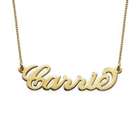 Small 18k Gold-Plated Silver Carrie Name Necklace