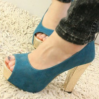 Casual High Heel Peep Toe Shoes