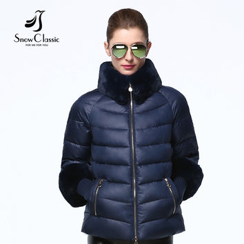 Snowclassic winter jacket women 2016 Real Rex Rabbit Fur Collar/sleeve Jacket female Winter Coats  big sale 15344