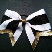 White, Black, & Gold Cheer Bow