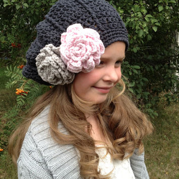 Crochet Pattern for Samantha or Sam Slouch Hat - 8 sizes, newborn to large adult - Welcome to sell finished items