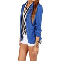 Bright Cobalt 3/4 Knit Blazer