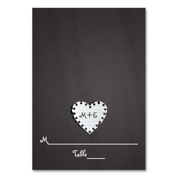 Paper heart chalkboard monogram wedding place card table card