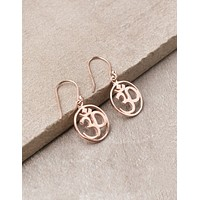 Blissful Om Earrings - Rose Gold