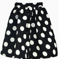 Black Polka Dot Skater Skirt - Choies.com