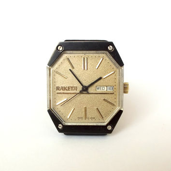 Rare Mens Watch RAKETA 19 Jewels. Star Wars Model Mens Wrist Watch. Mechanical  Gents Watch With Double Calendar. Vintage Watch For Men 80s.