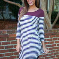 Lovely Lines Top, Navy/Wine
