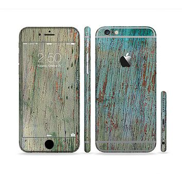 The Chipped Teal Paint on Aged Wood Sectioned Skin Series for the Apple iPhone 6s Plus