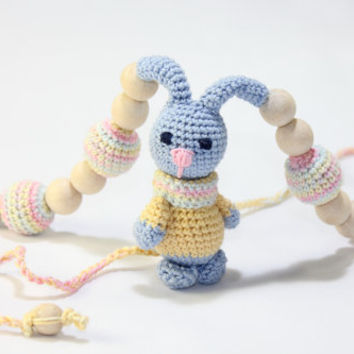 Nursing necklace / Teething necklace / rabbit / Crochet Necklace for mom and child / Breastfeeding Jewelry for Mom / Crochet sling necklace