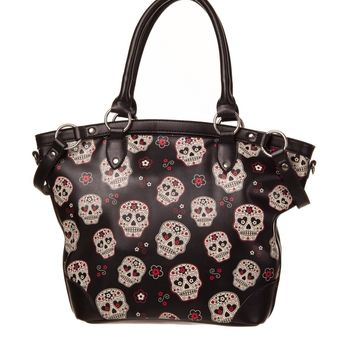 Banned Day of the Dead Muertos Flower Sugar Skull Canvas Shouder Bag