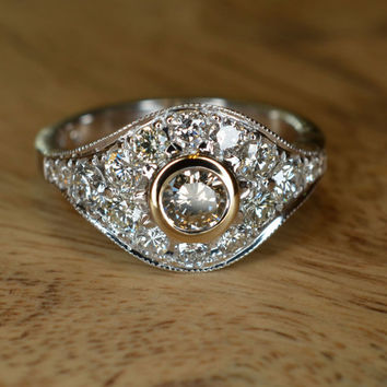 Art Deco Champagne Diamond Engagement Ring (18k White and Yellow Gold Gold)
