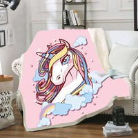 Unicorn Horse Print Velvet Plush Throw Blankets for Kid Adults Sherpa Fleece Black Blanket for Beds Sofa Thin Quilt Home Decor