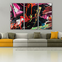 Visual Abstract Art Therapy Canvas Print 3 Panels Print Wall Decor Fine Art Photography Repro Print for Home and Office Wall Decoration