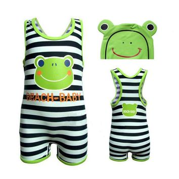 New Cute Cartoon Animal Frog Baby Kids Children Boys Swimsuit Swimwear One Piece Suits Bathing Wear Beachwear Swimming Cap Hat