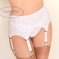 Retro Lingerie - Vintage Reproduction 1950's White Satin and White Lace Garter Belt w/ 6 Hanging Garters!