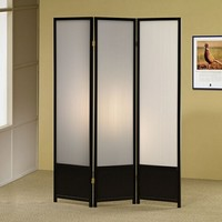 3 panel black finish wood room divider shoji screen