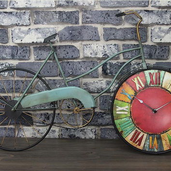 Vintage Mural Large Wall Clock Simulation Bicycle Wall Watch Living Room Decoration Digital Wall Clock Bar Accessories