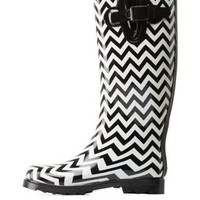 White Combo Chevron Striped Rainboots by Charlotte Russe