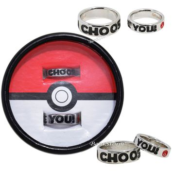 Licensed cool Pokemon Pokeball I Choose You Best Friends BFF Bestie Costume Ring Set 6 & 10