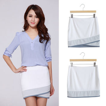 White Wrap Mini Pencil Skirt